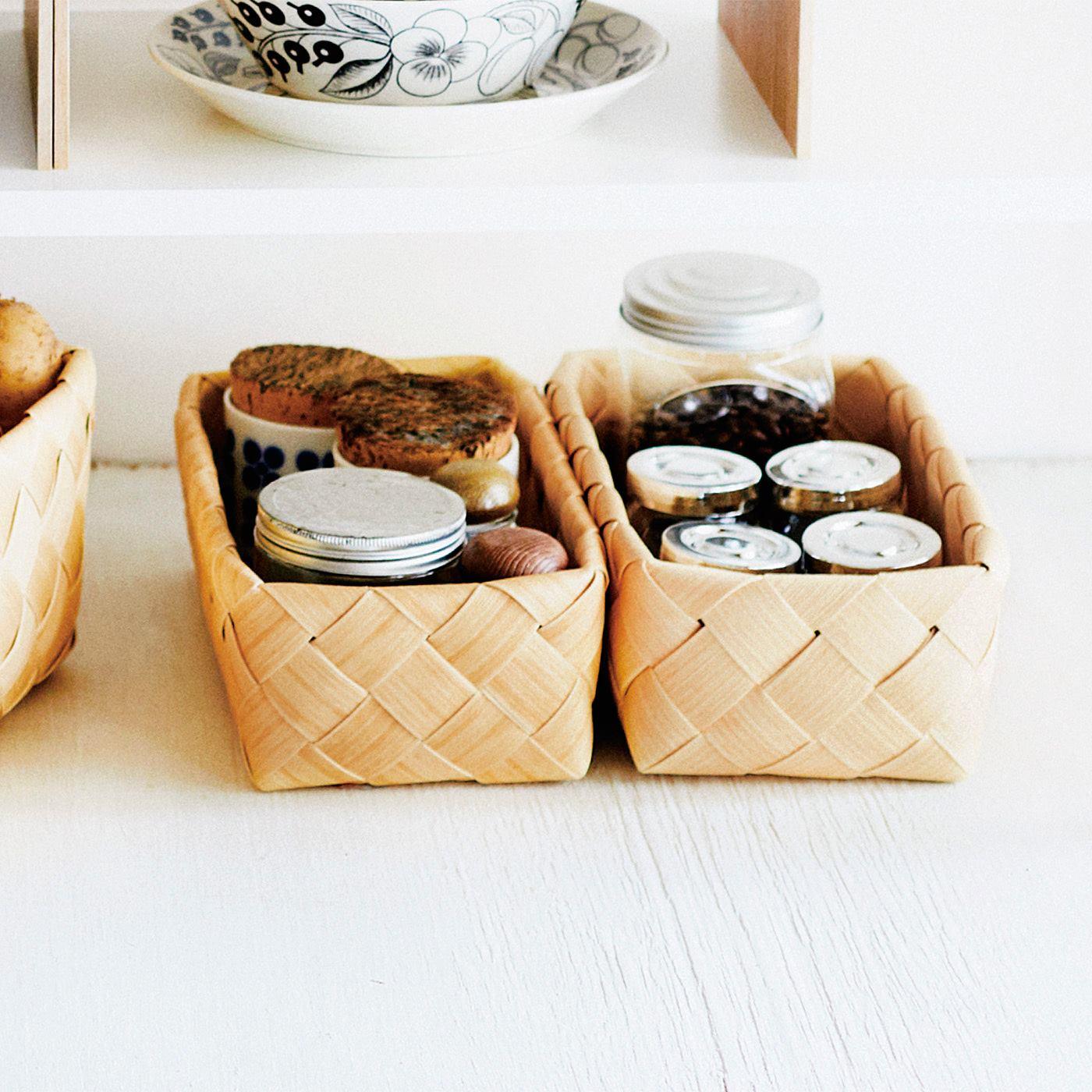 白樺(かば)で編んだような洗えるバスケット〈レクタングル〉の会