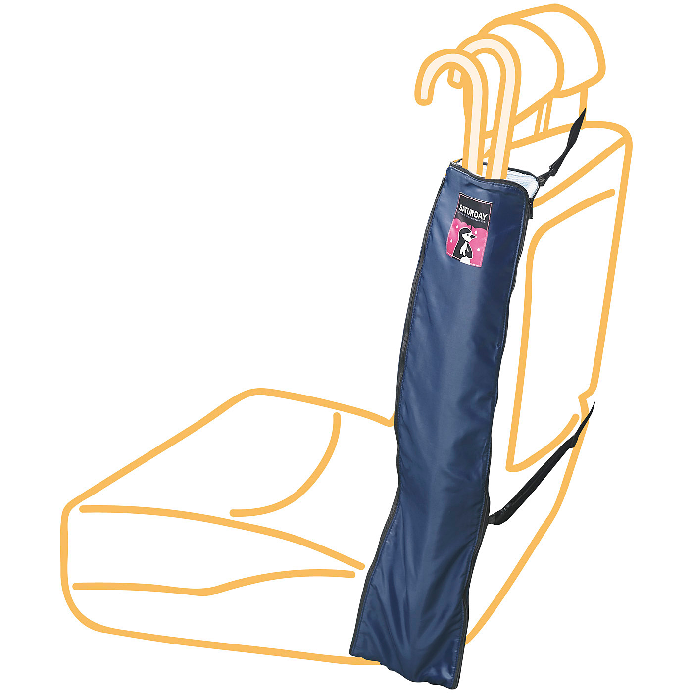 シートサイドにすっきり収納 ショルダーストラップをヘッドレストに掛けて、ゴムひもでシートサイドにキープできます。