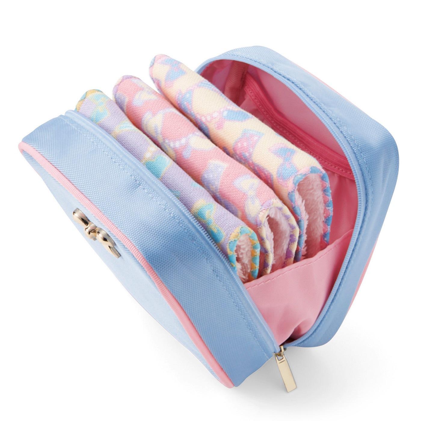 大きく開いて出し入れスムーズ。「秘密のポケットタオル」がきれいに収まります。