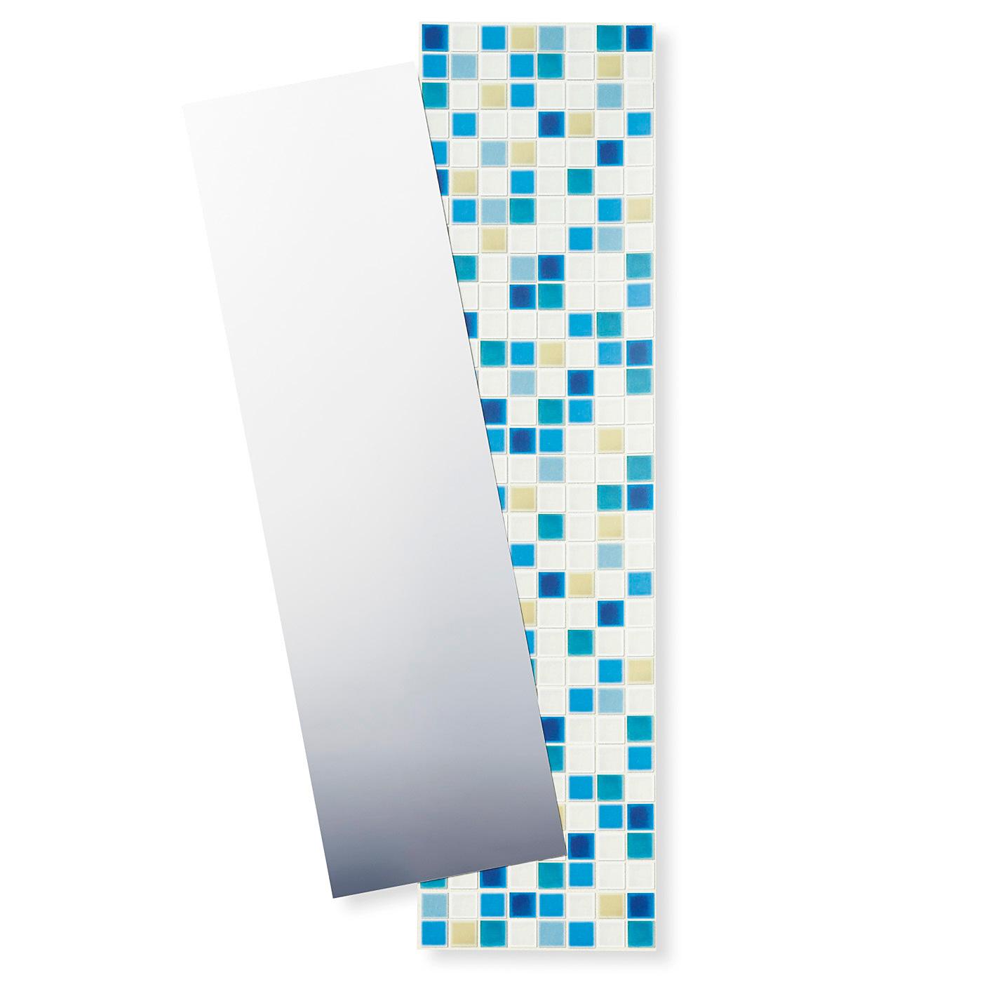 〈ブルー〉 壁紙用タイルシールとミラーシールの2枚セット