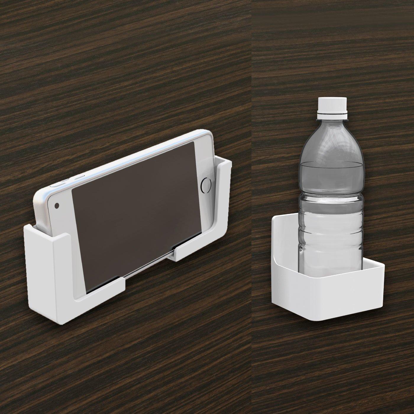 浴室の壁に貼り付く 磁着SQ マグネットバススマートフォンホルダー・マグネットバスドリンクホルダーセット