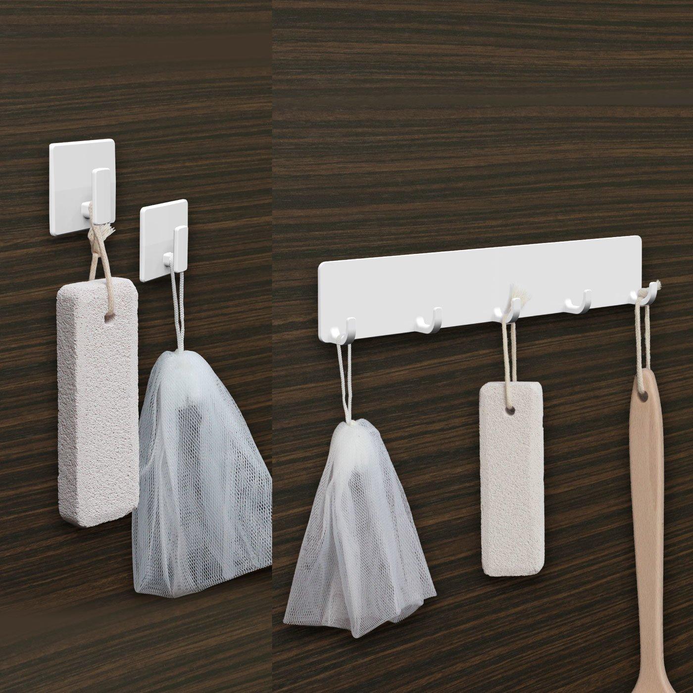 浴室の壁に貼り付く 磁着SQ マグネットバスフックミニ2個組・マグネットバスフック5連 セット