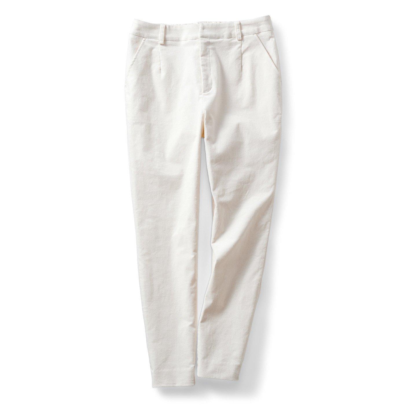 【3~10日でお届け】IEDIT[イディット] 細うねコーデュロイ クレッシェンドカット(R)パンツ〈ホワイト〉