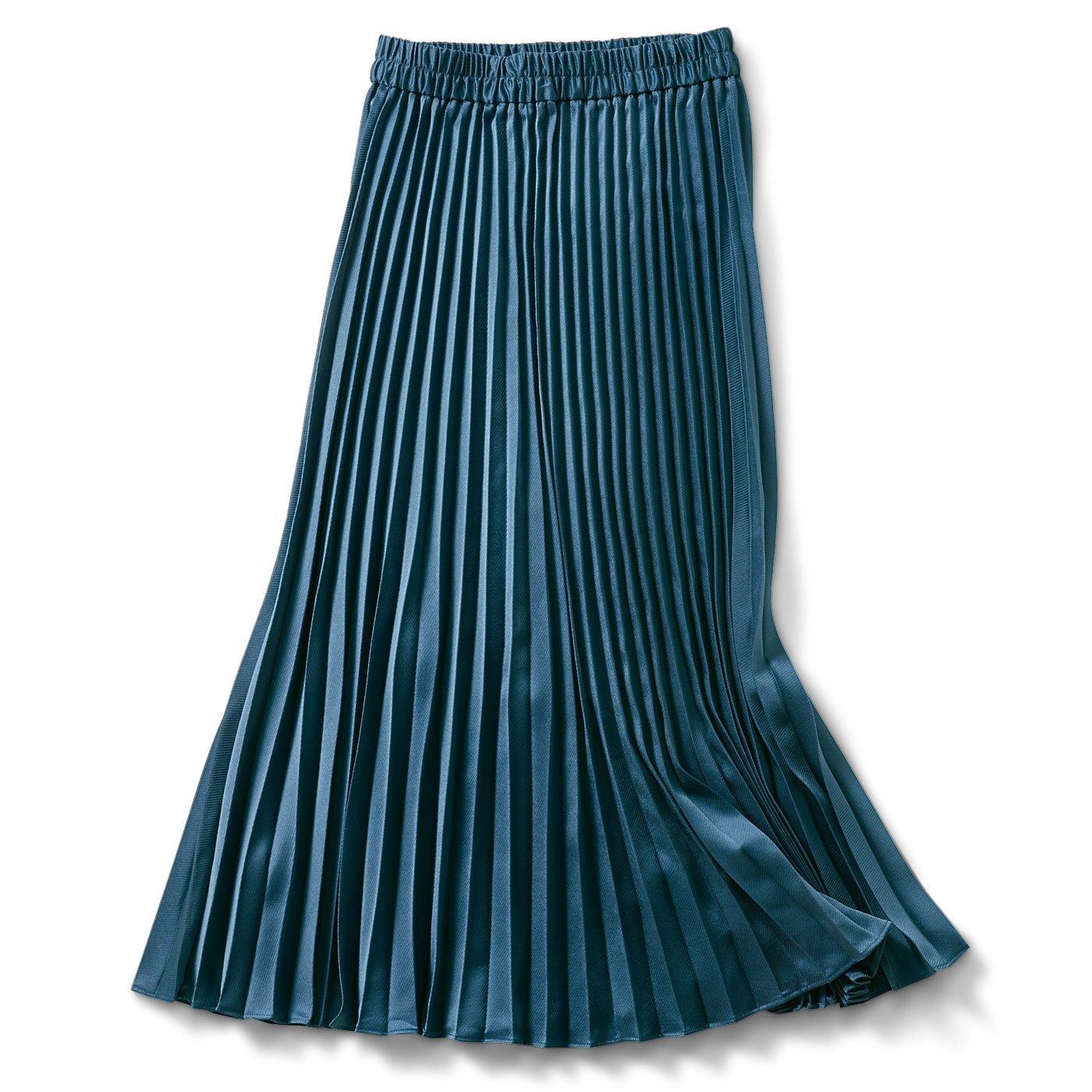 IEDIT[イディット] 斜めストライプ織り柄サテンのプリーツロングスカート〈ブルーグリーン〉