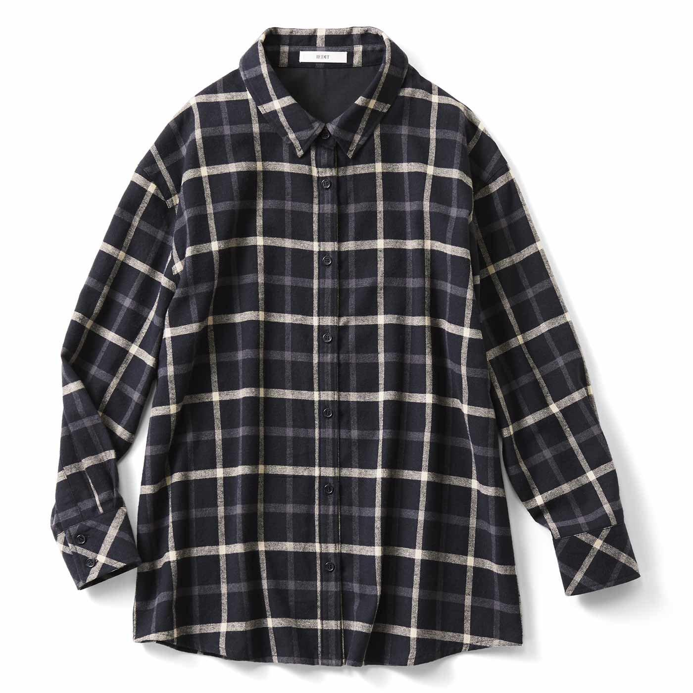 【3~10日でお届け】IEDIT[イディット] 大人シックなやわらかチェックシャツチュニック〈ブラック〉