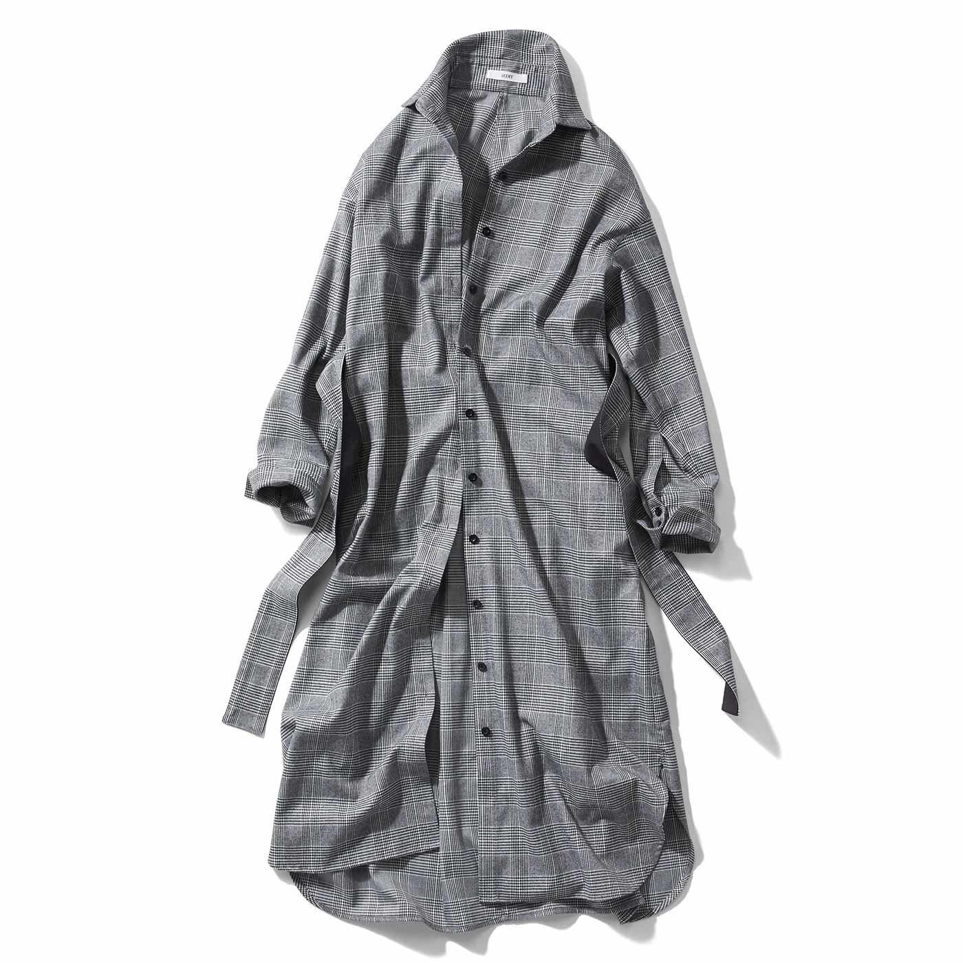 【3~10日でお届け】IEDIT[イディット]×牧野紗弥さん グレンチェックのドレスシャツコート〈ブラック〉