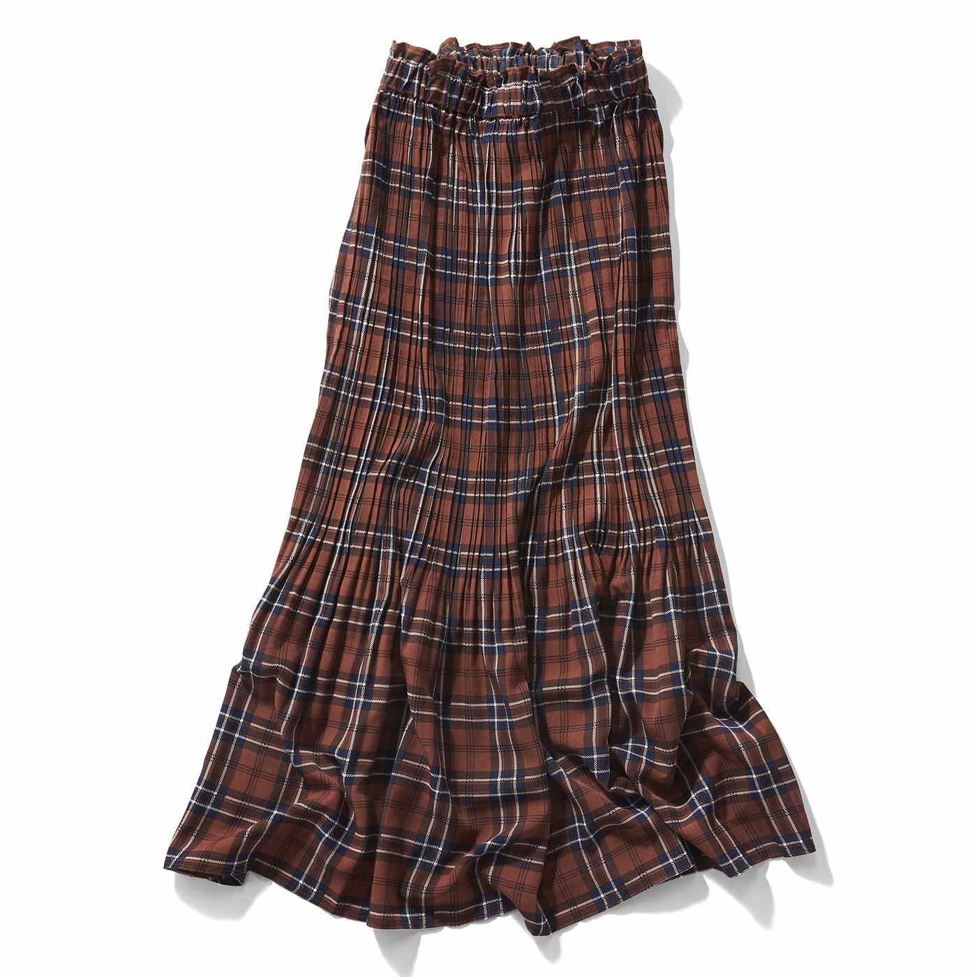 【3~10日でお届け】IEDIT[イディット] 消しプリーツのチェック柄マキシスカート〈ブラウン〉