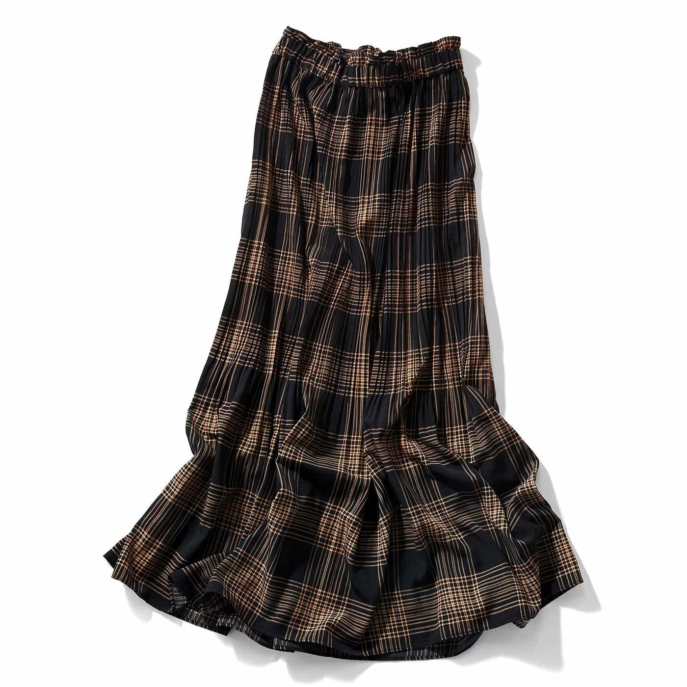 【3~10日でお届け】IEDIT[イディット] 消しプリーツのチェック柄マキシスカート〈ブラック〉