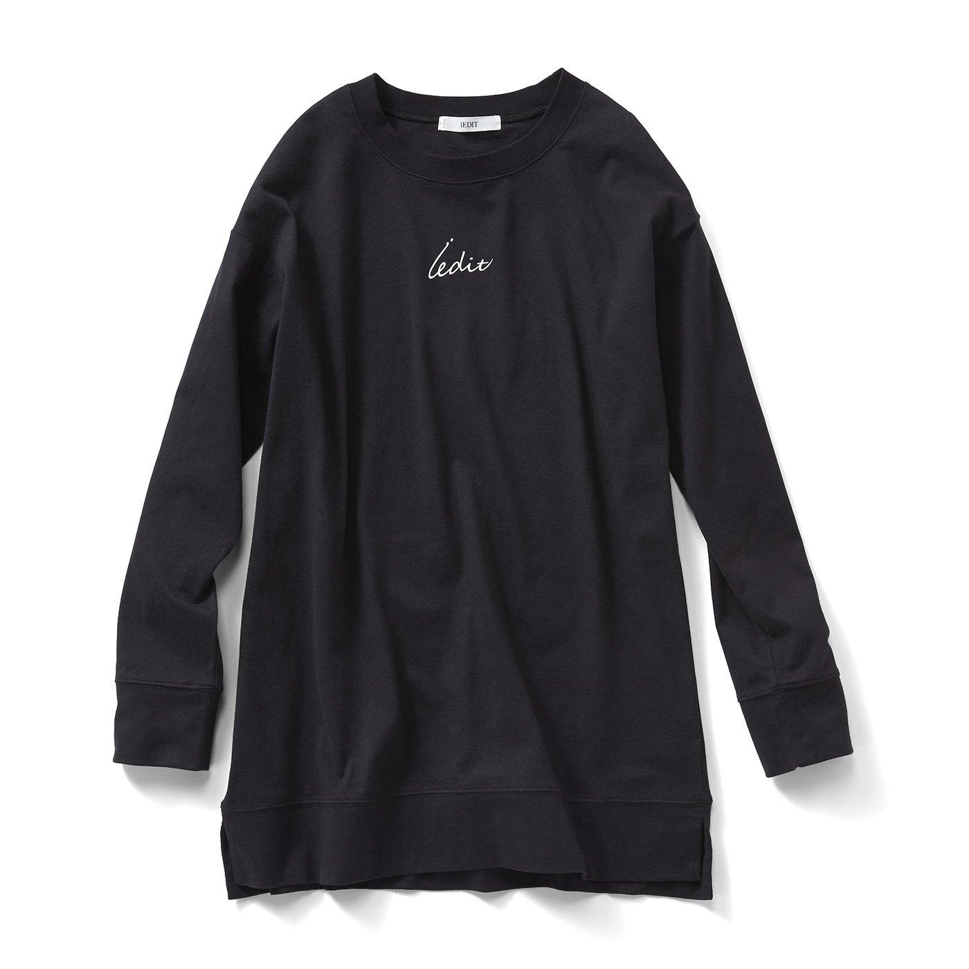 【3~10日でお届け】IEDIT[イディット] リサイクルコットンのブランドロゴTシャツ〈ブラック〉