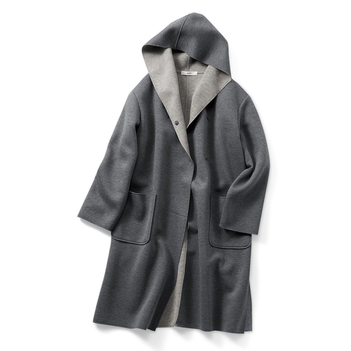 【3~10日でお届け】IEDIT[イディット] ほどよい厚みで大活躍 ボンディング素材のフーデッドコート〈グレー〉