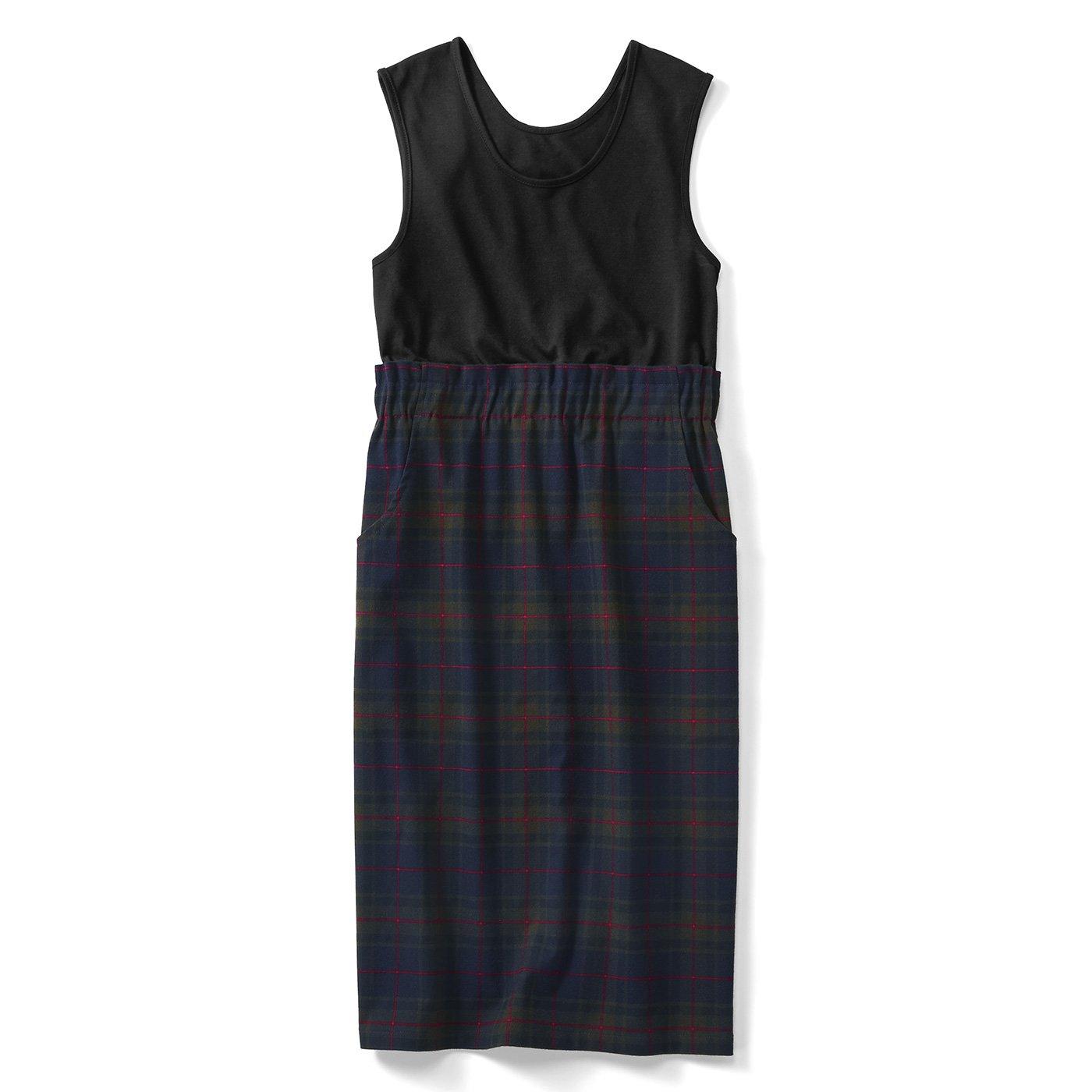 IEDIT[イディット] 上から吊ってるみたいでウエスト快適 タンクトップ付き 着映えチェック柄のIラインスカート〈ネイビー〉