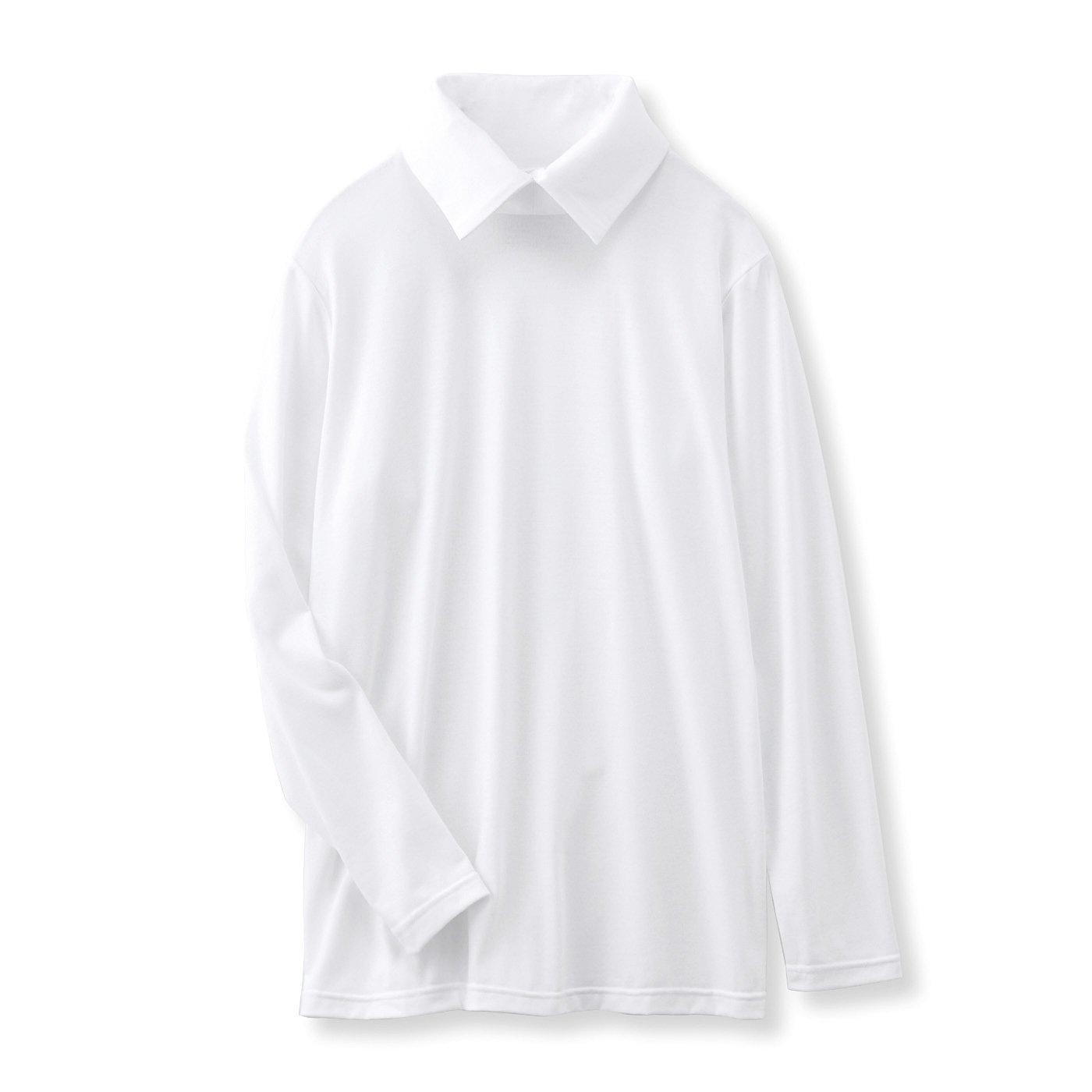 フラウグラット 重ね着上手な衿いろいろ 名わき役ホワイトトップス〈吸水速乾〉〈シャツ風カラー〉