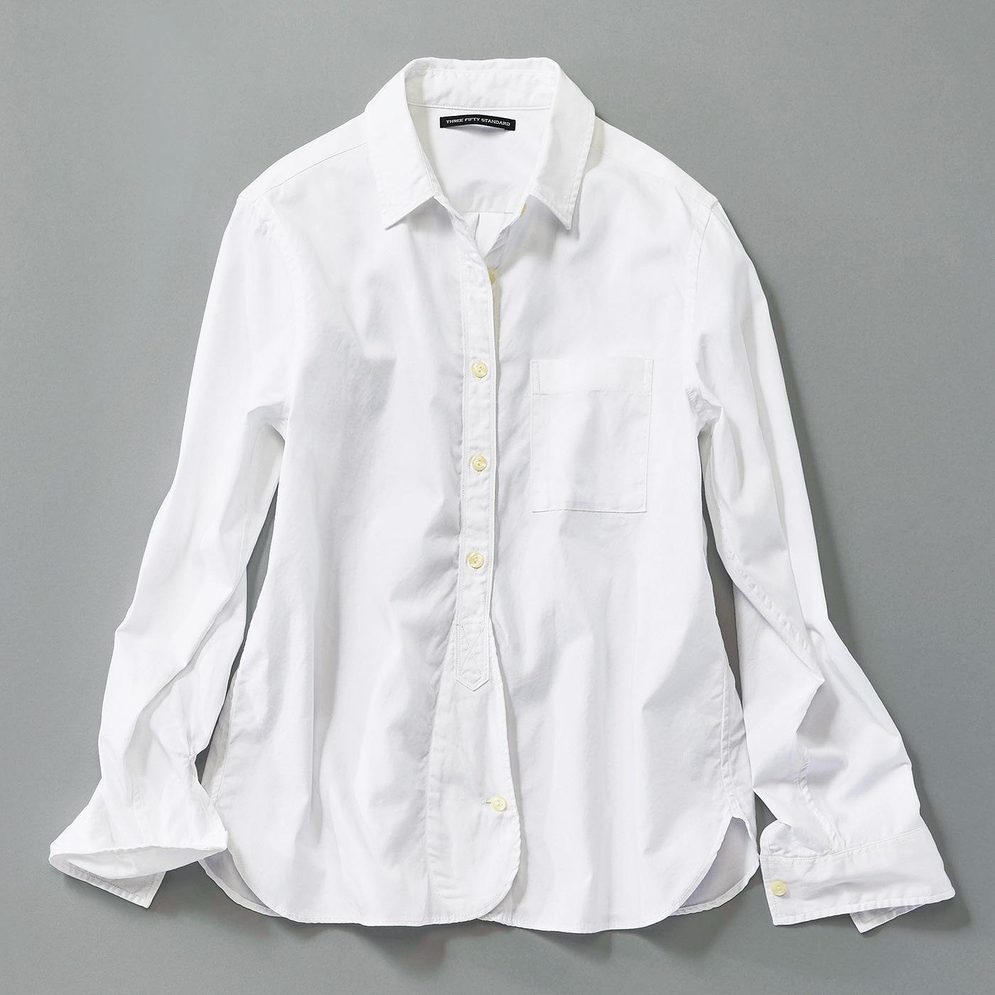 フェリシモ THREE FIFTY STANDARD スタンダードオックスフォードシャツ〈ホワイト〉