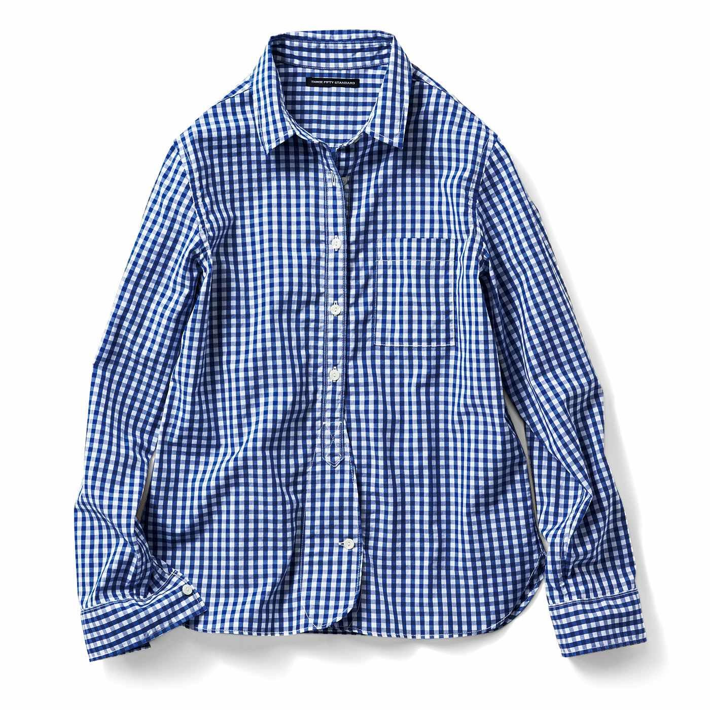 THREE FIFTY STANDARD スタンダード先染めチェックシャツ〈ブルー〉