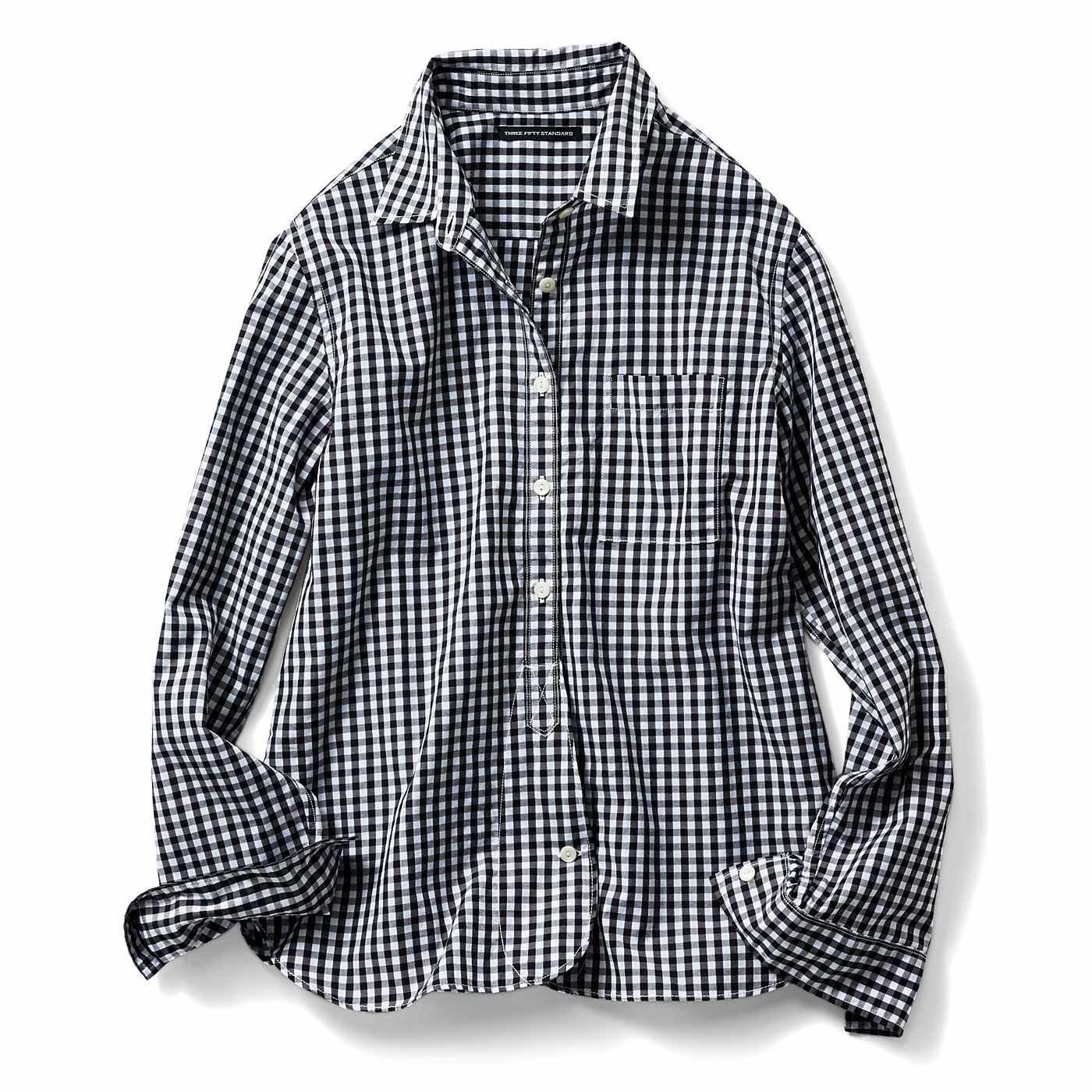 THREE FIFTY STANDARD スタンダード先染めチェックシャツ〈ブラック〉