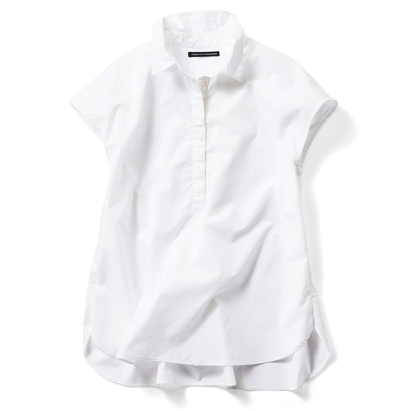 THREE FIFTY STANDARD 比翼のフレンチスリーブシャツ〈ホワイト〉