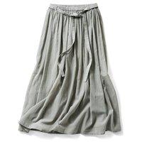 <フェリシモ>THREE FIFTY STANDARD ギャザーロングスカート〈グレイッシュオリーブ〉【送料無料】