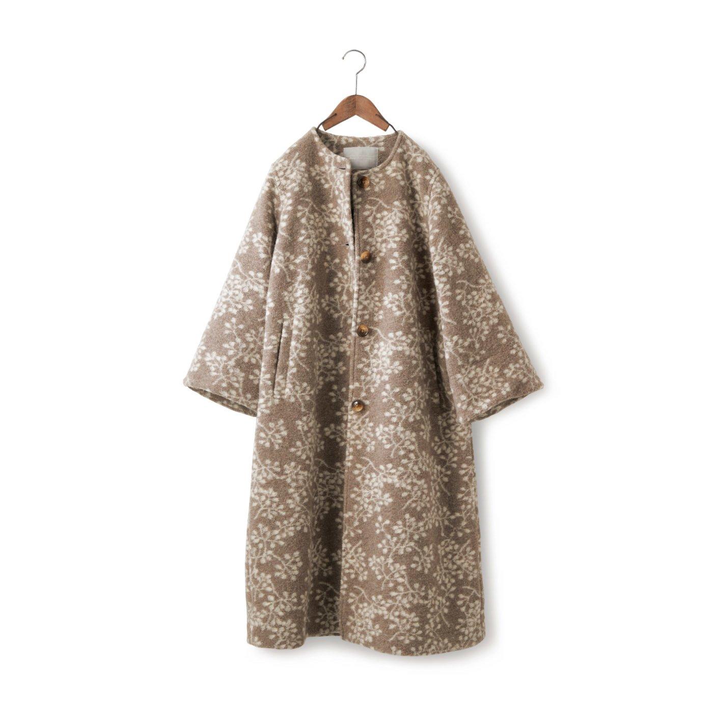 SUNNY CLOUDS 木の葉模様の縮絨コート〈レディース〉
