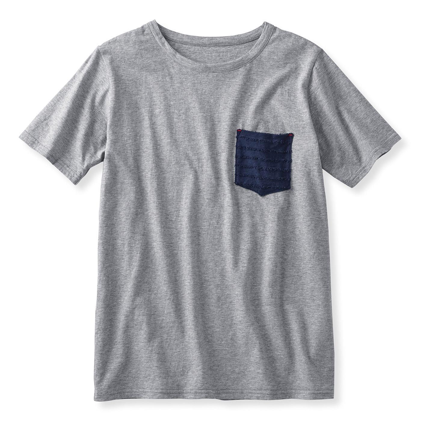吸水速乾素材がうれしい ポケット付きトップス〈メンズ〉 (グレイ杢(もく))