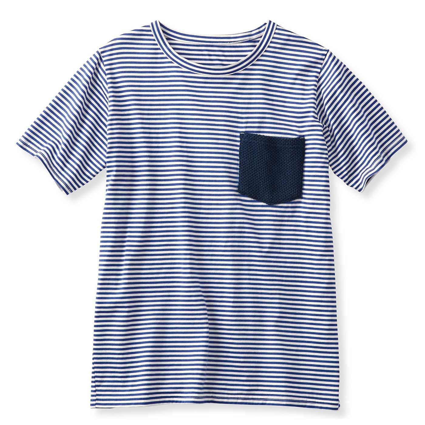 フェリシモ 吸水速乾素材がうれしい ポケット付きトップス〈メンズ〉 (ブルーボーダー)