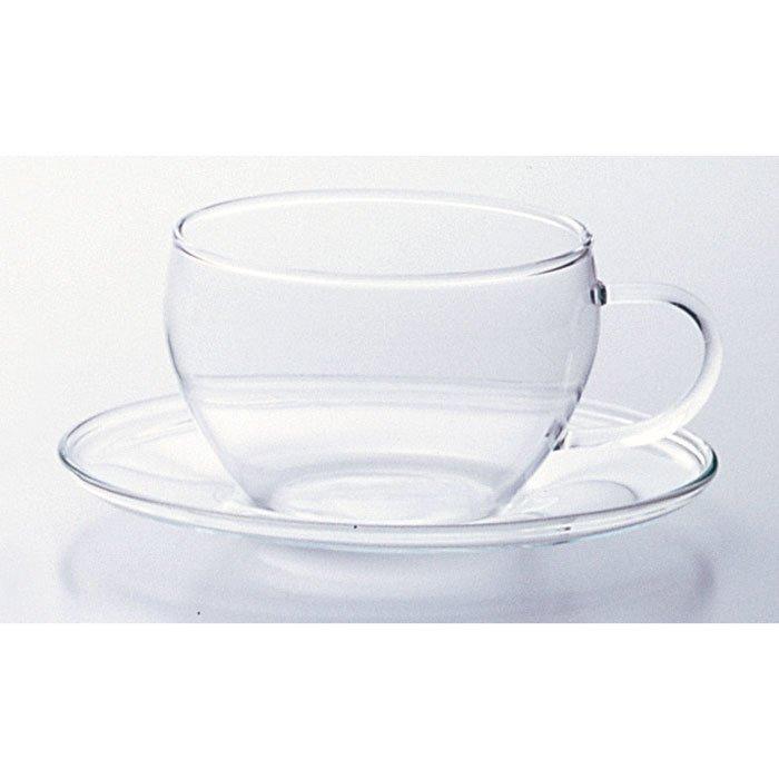 職人手づくり たっぷりサイズの耐熱ガラス カップ&ソーサー