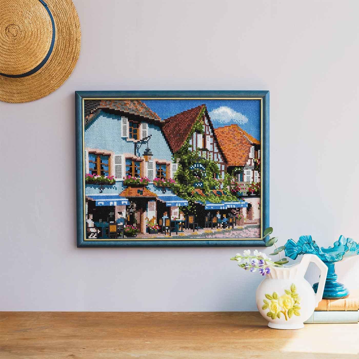 絵本のように美しい フランスの風景 アルザス地方のカフェクロスステッチキット