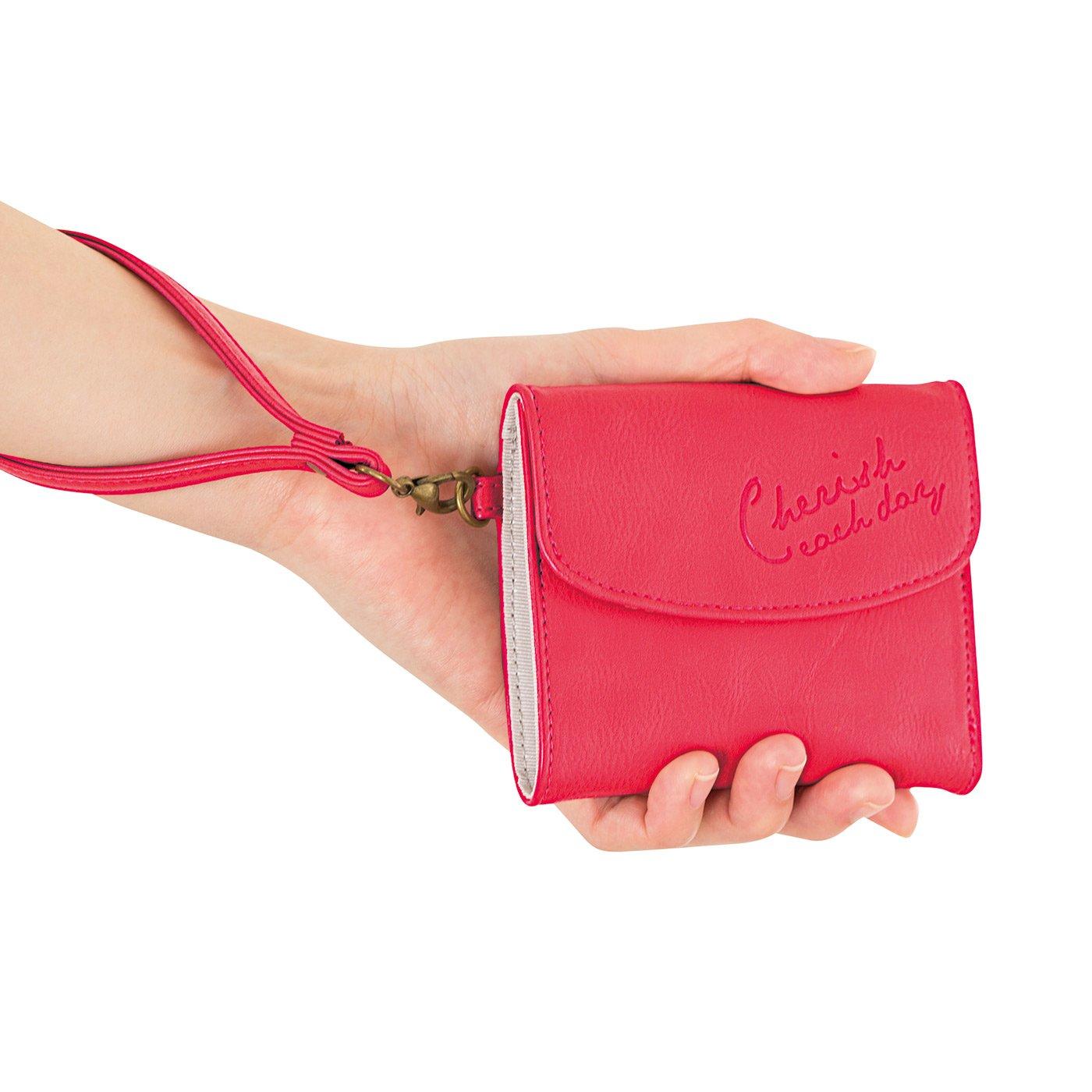 幸運呼び込む ラッキーピンクのスリムミニ財布