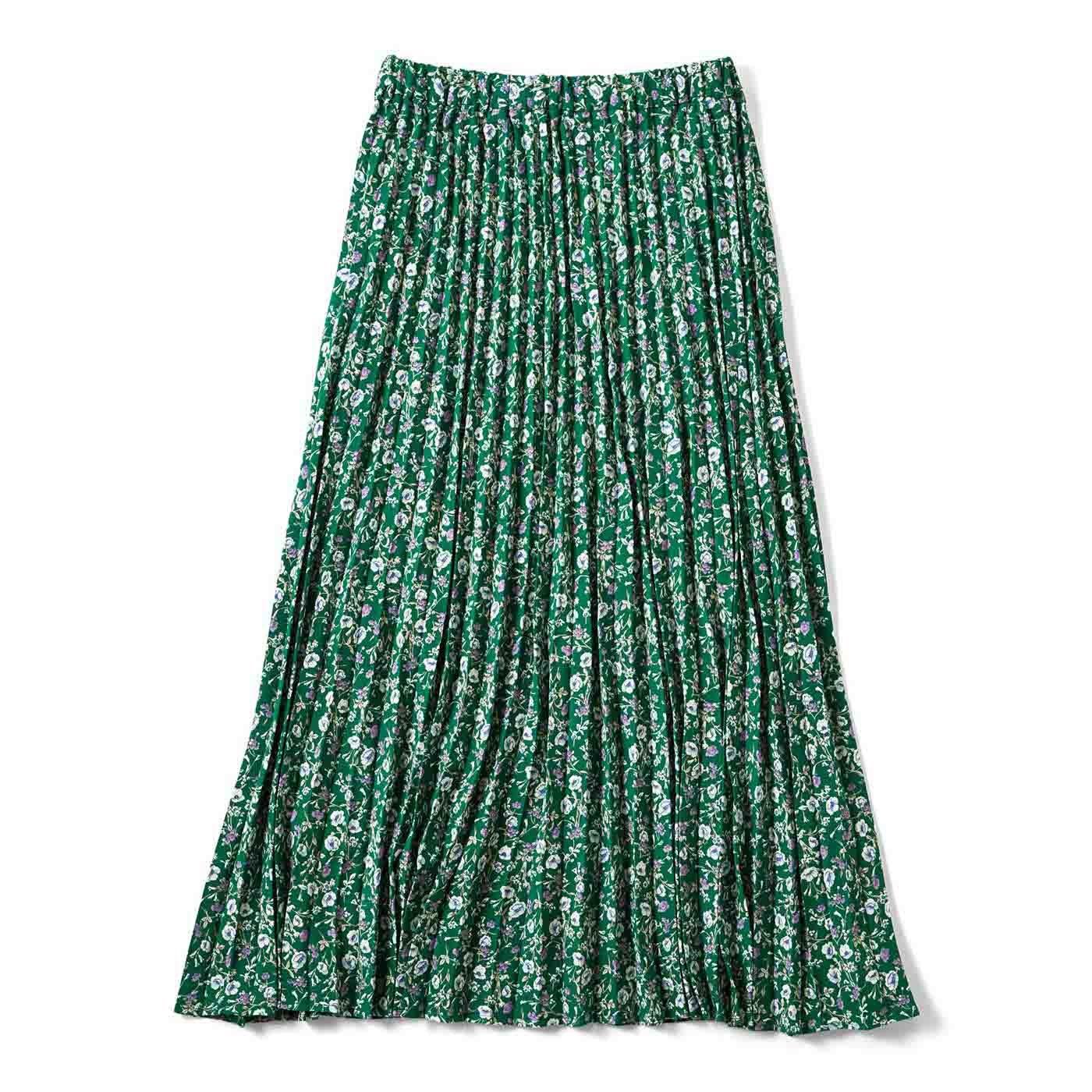 コーディネイトに差し色 ひらりプリーツスカート〈グリーン〉