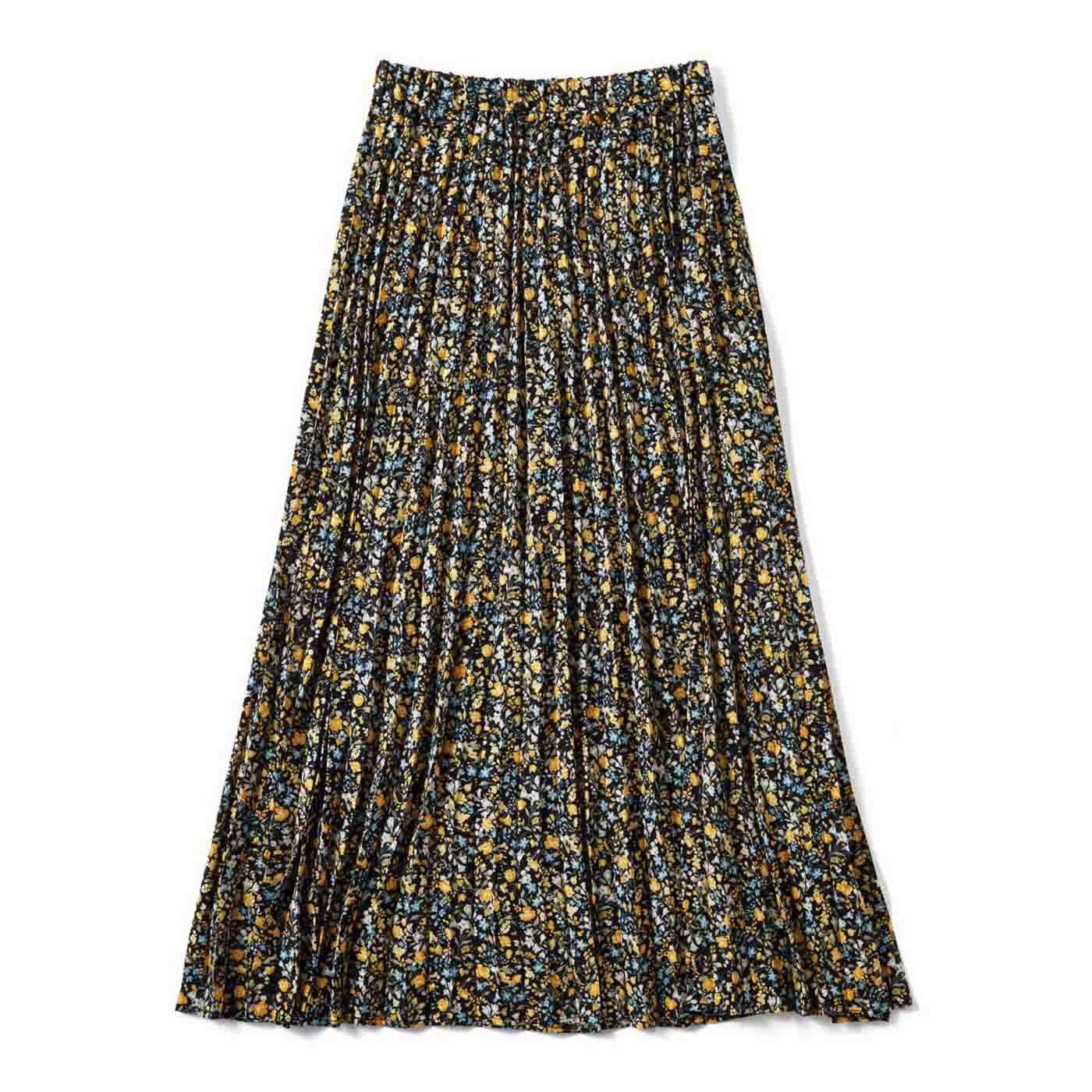 コーディネイトに差し色 ひらりプリーツスカート〈ブラック〉