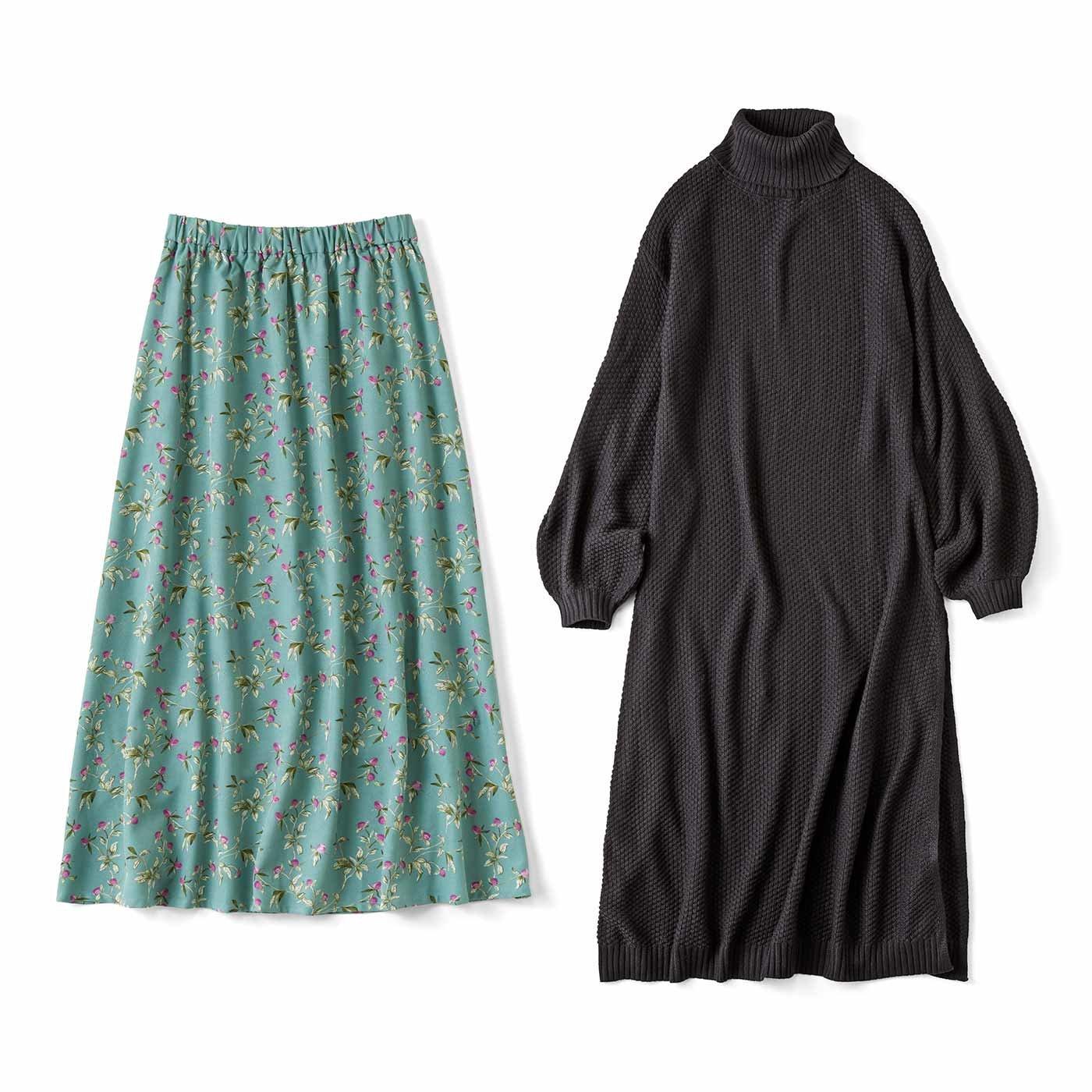 大満足 ロングニットワンピースとスカートのコーデセット〈ブラック〉