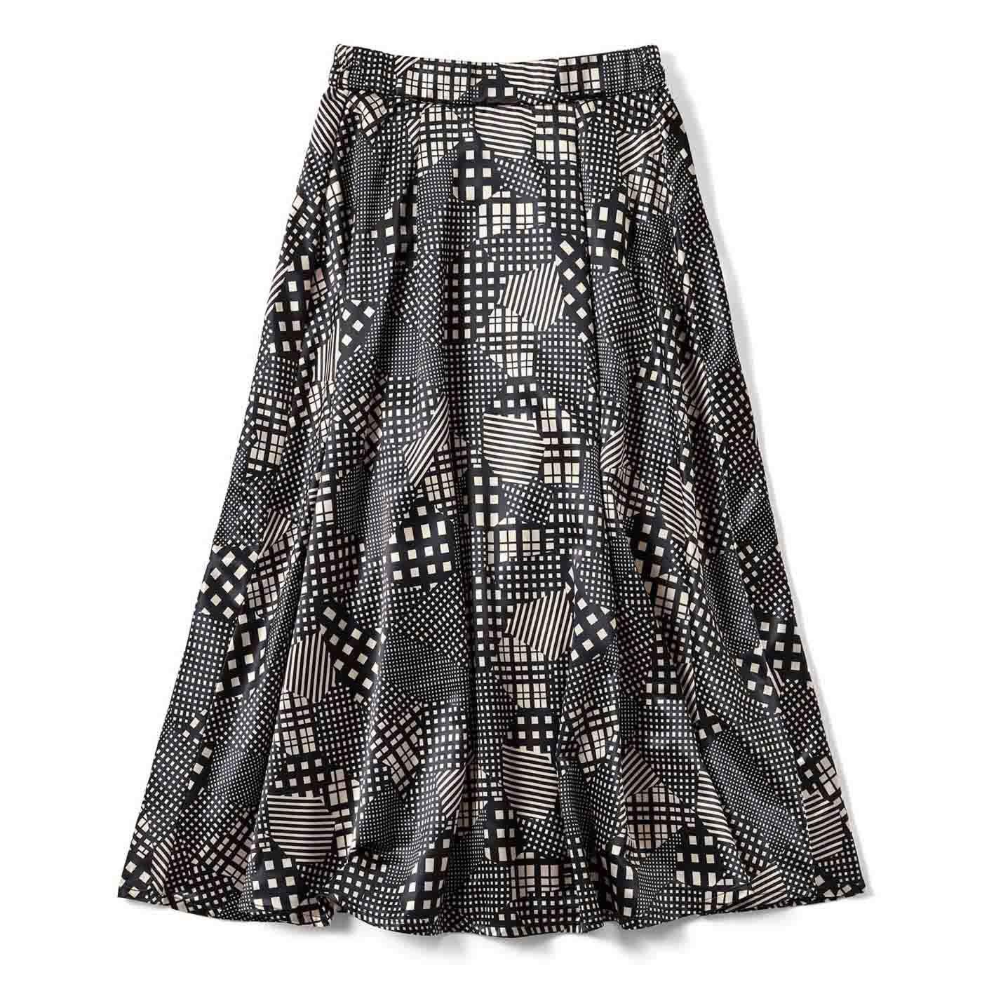 チェックとしましまのブロックスカート