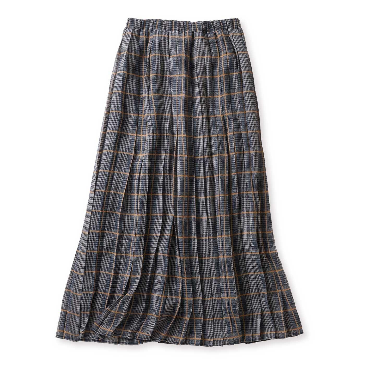 【WEB限定】IEDIT[イディット] シフォンが軽やかなチェック柄プリーツマキシスカート〈グレー〉