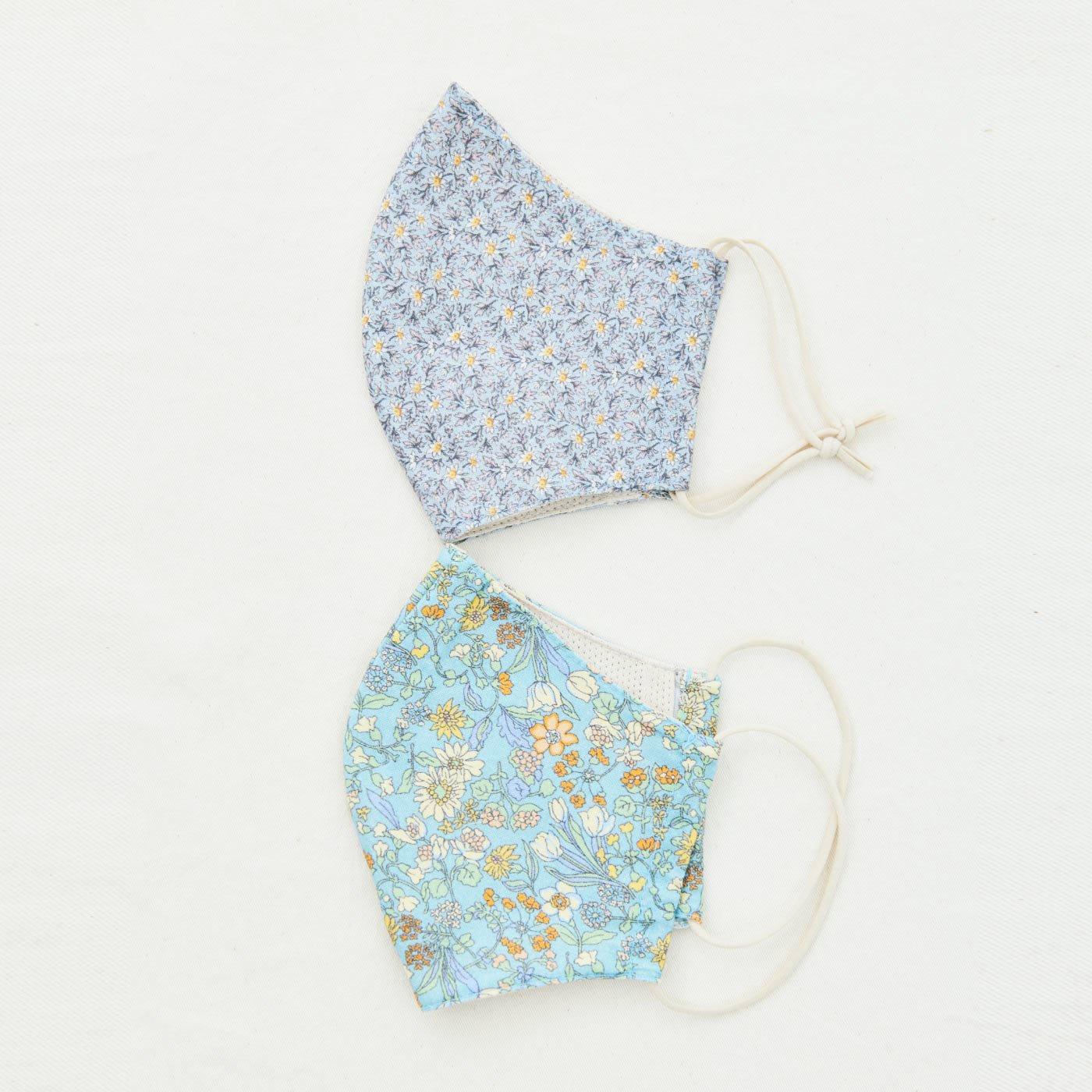 【WEB限定】IEDIT[イディット] 小花柄プリントが上品&清楚な印象!内側メッシュ素材の立体布マスク