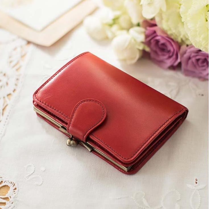 職人が誂えた上質本革がま口付き折り財布〈アップルレッド〉[本革 財布:日本製]