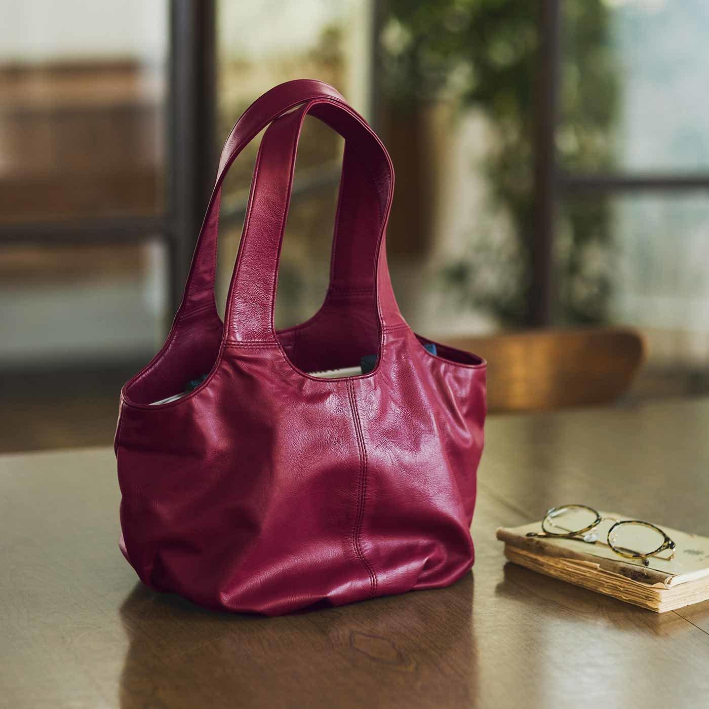 スタイリストと作った 職人本革のペタルバッグ〈葡萄色〉[本革 鞄:日本製]