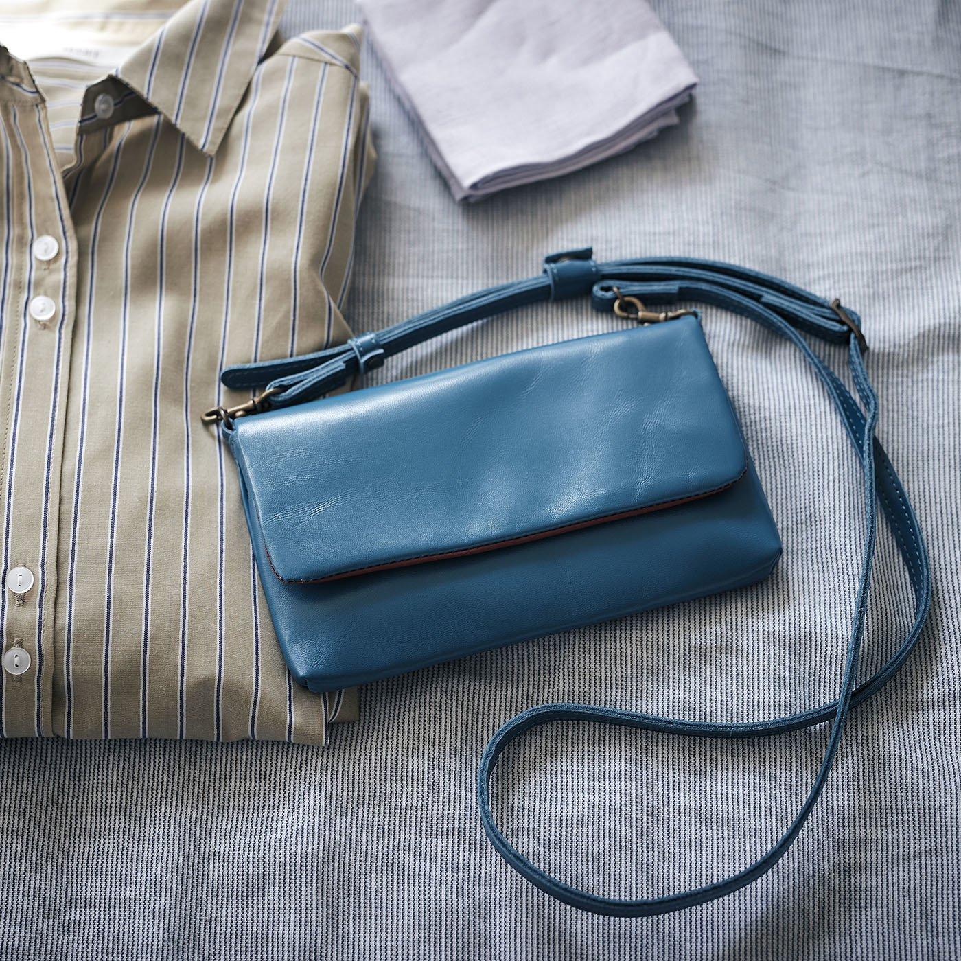 鞄職人が作った 馬革パルフェバッグ〈ターコイズブルー〉[本革 お財布ポシェット:日本製]