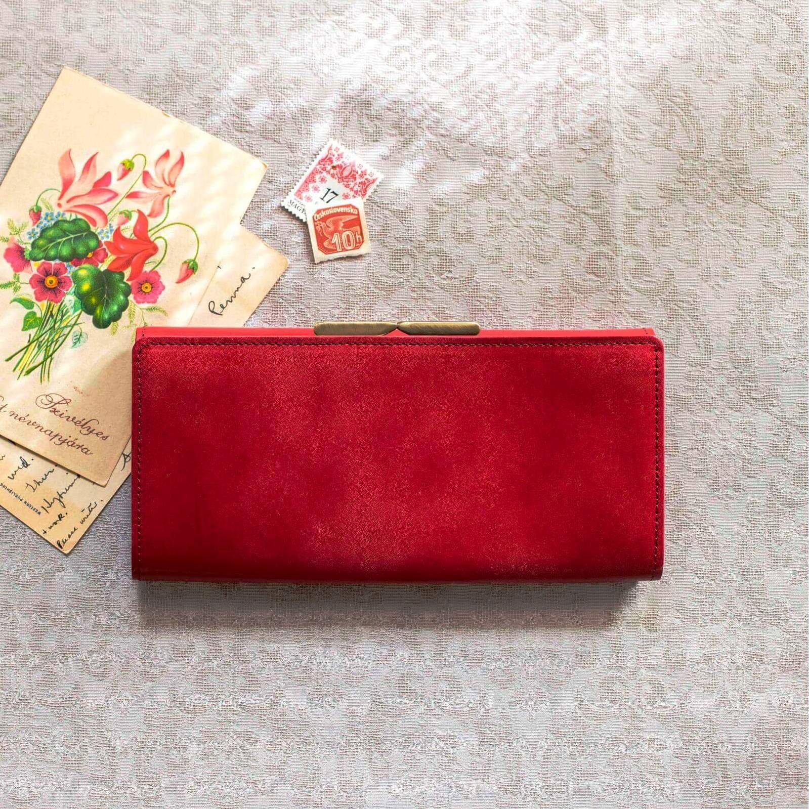 職人が誂えた上質本革がま口付き長財布〈アップルレッド〉[本革 財布:日本製]