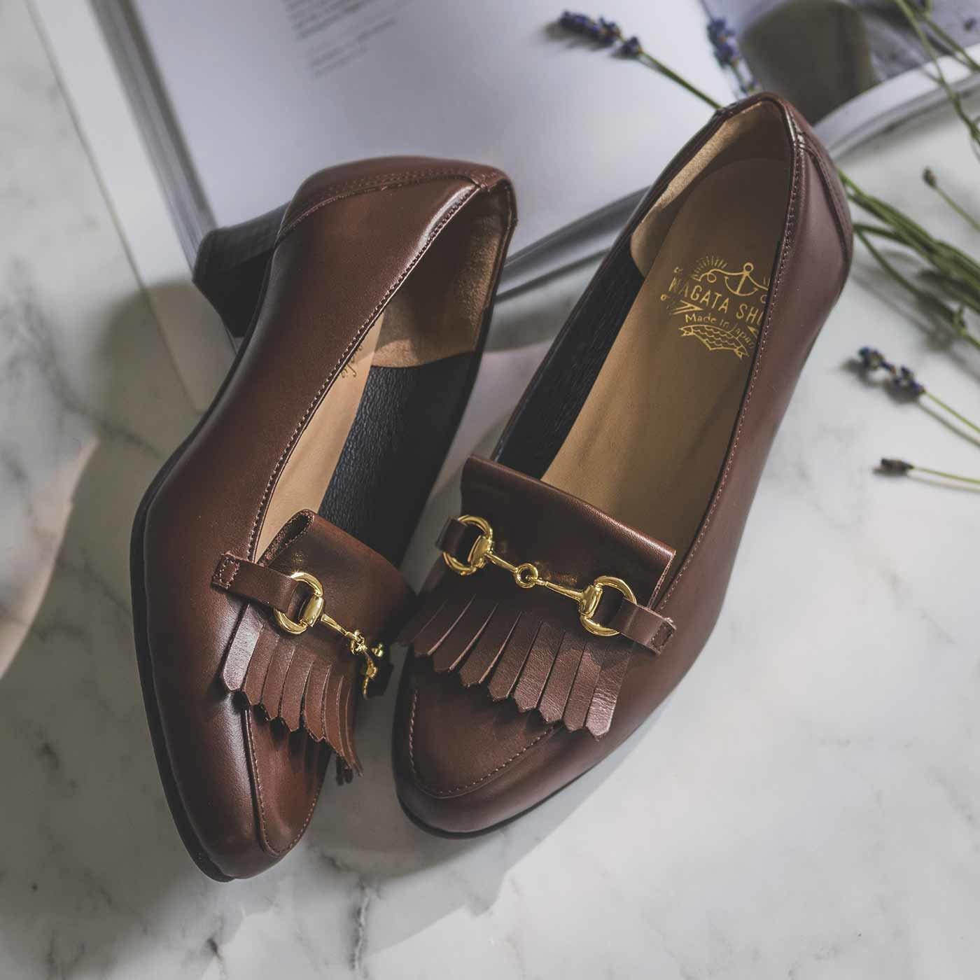 長田靴職人の本革仕立て 美脚ビットローファー〈ルビーウッド茶色〉[本革 ローファー:日本製]