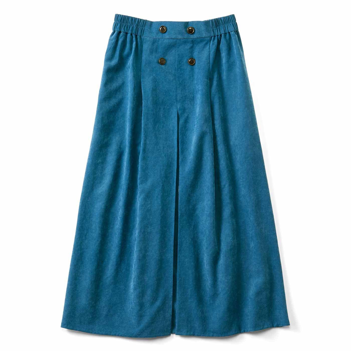 コーディネイト映え スエード調ボックスプリーツスカート〈ブルー〉