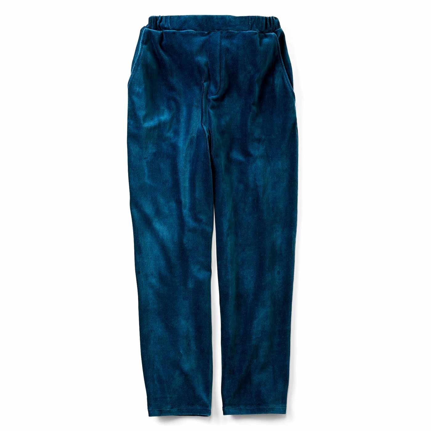 ストレッチベロア素材のすっきりパンツ〈ブルーグリーン〉