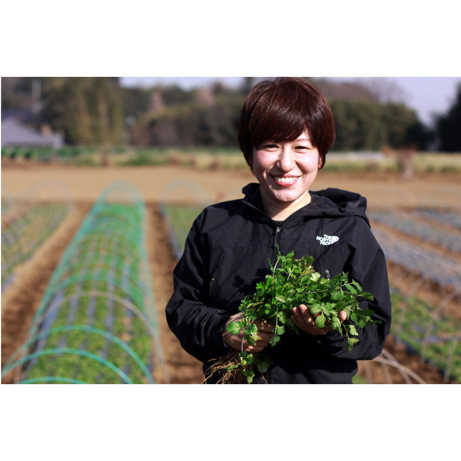 〈生産者〉PAKUCISISTERS 立川あゆみ 千葉県八千代町の農家の長女として生まれる。デザイナー、お笑い芸人、飲食店のシェフなどを経て、生まれ育った土地や育ててくれた両親に恩返しするため新規就農を決意。パクチー生産者として、夏だけでなく一年中パクチーを栽培し、収穫・加工・販売までを行う。