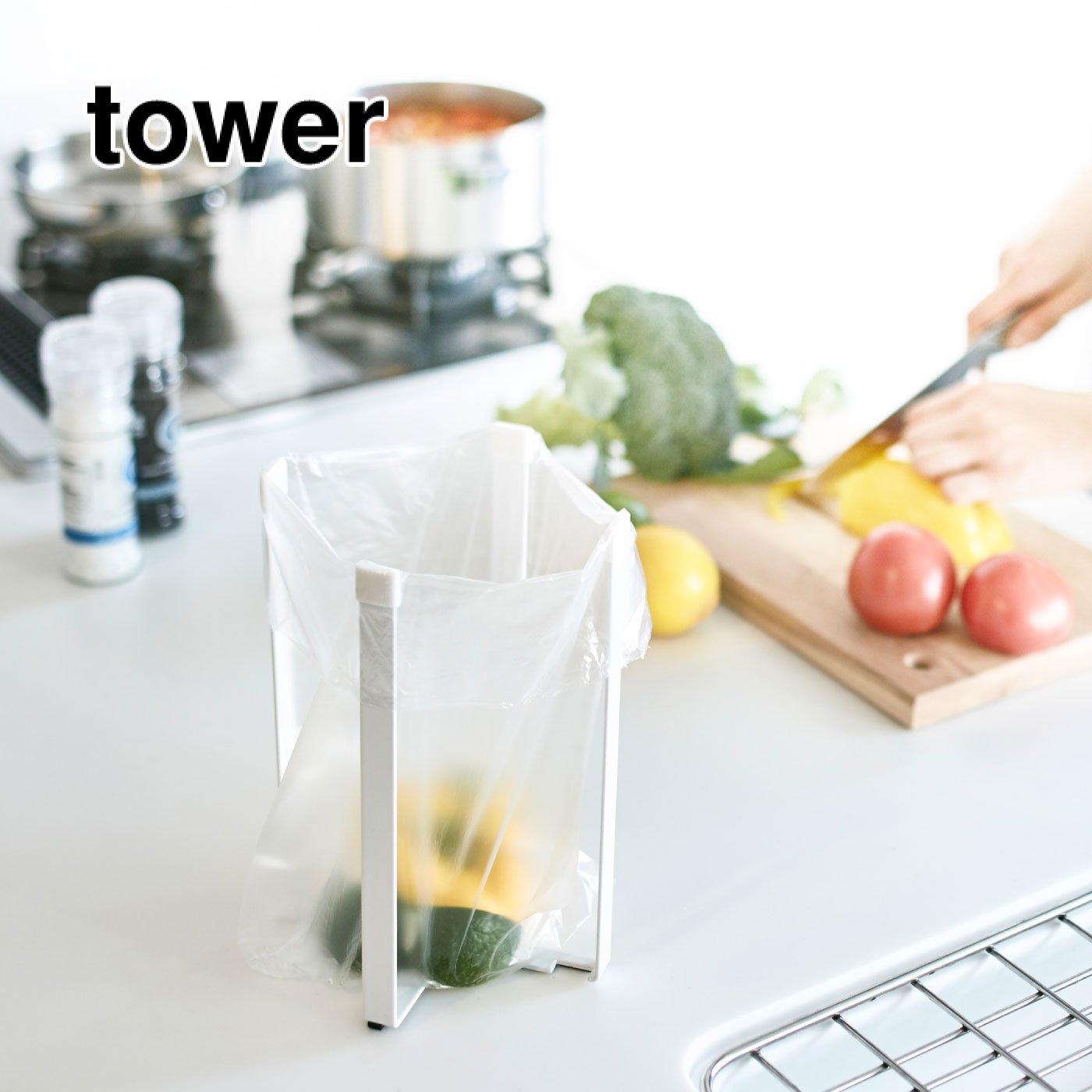 tower ゴミ箱にスタンドにマルチに使える! ポリ袋エコホルダーL