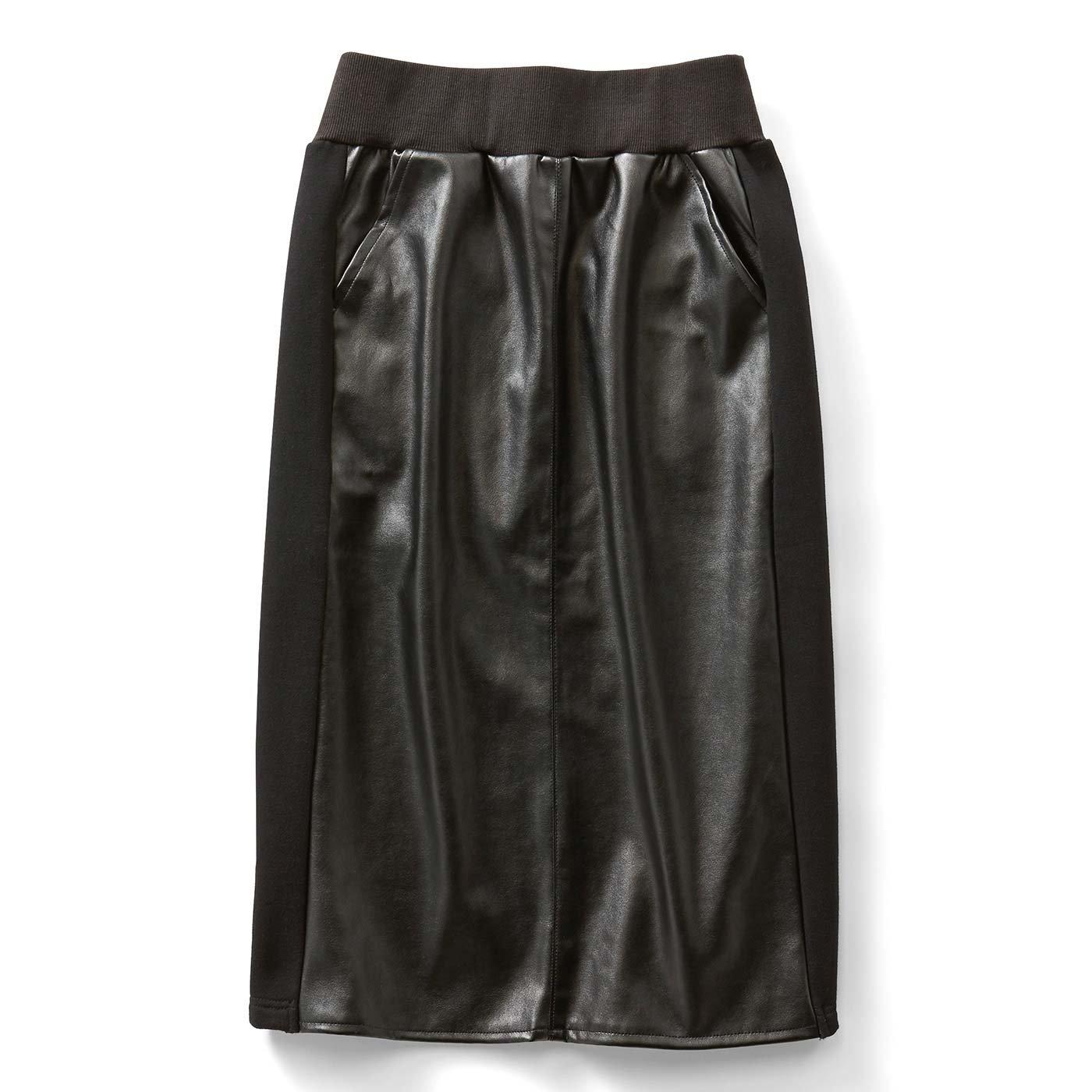 IEDIT フェイクレザーと裏起毛素材のあったかミディタイトスカート〈ブラック〉