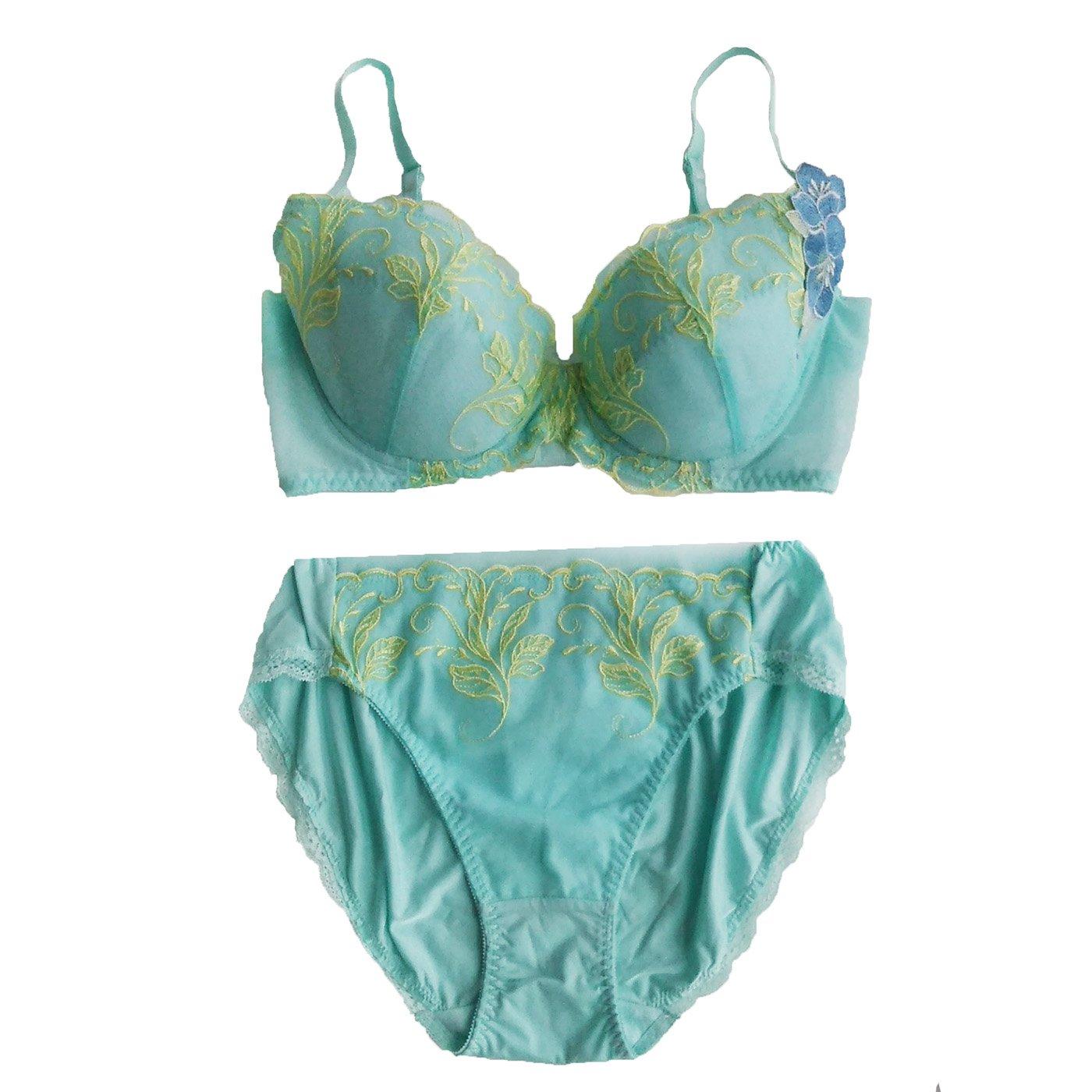 ボタニカルフラワーで優美な気分に満たされる 洗練印象ブラ&ショーツ〈ブルーグリーン〉