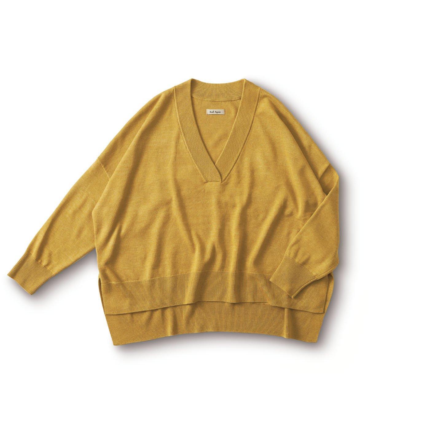 and myera 四角いセーター〈マスタード〉