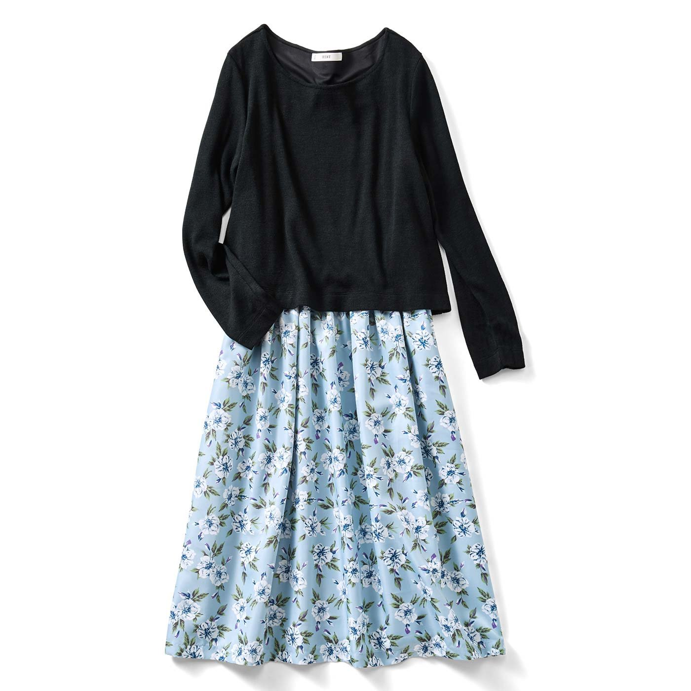 IEDIT 朝時短がかなう ふわニットと花柄のドッキングワンピース〈ブラック×ブルー〉