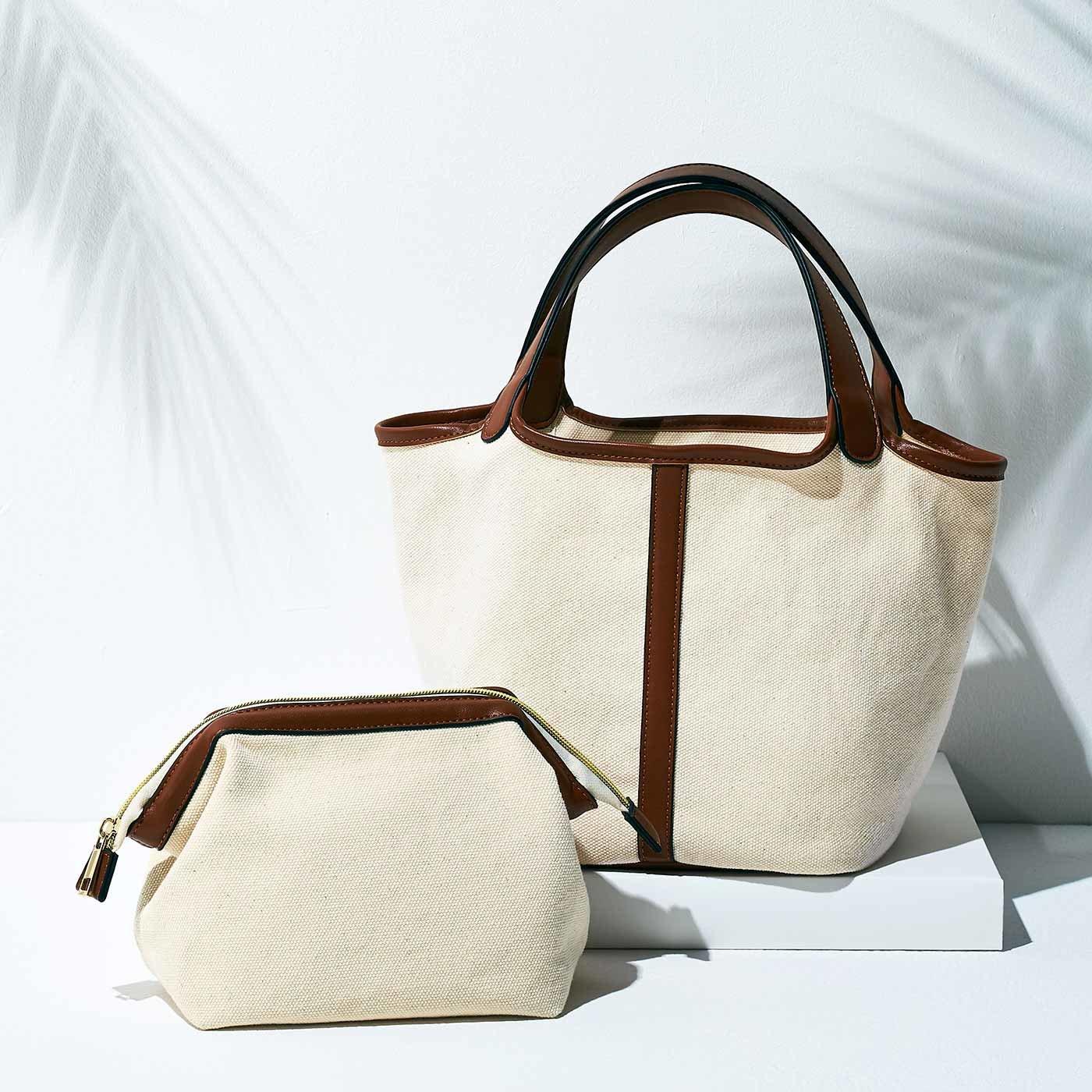 【3~10日でお届け】IEDIT[イディット] 帆布素材のバッグインバッグセット〈アイボリー〉