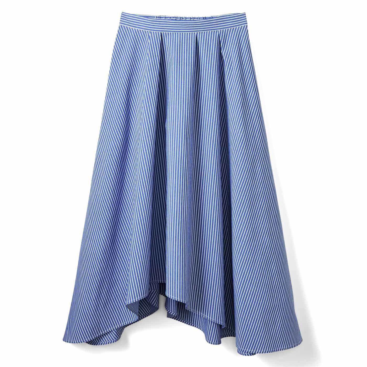 IEDIT[イディット] ストライプイレギュラーヘムスカート〈ブルー〉