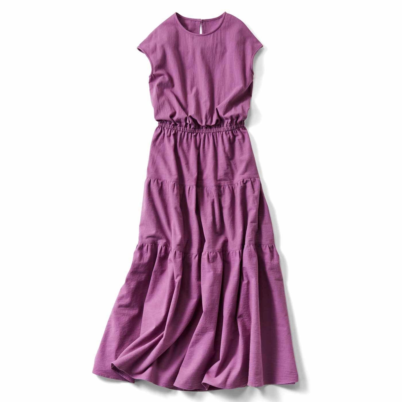 【3~10日でお届け】IEDIT[イディット] ティアードデザインの大人サマードレス〈ピンクパープル〉