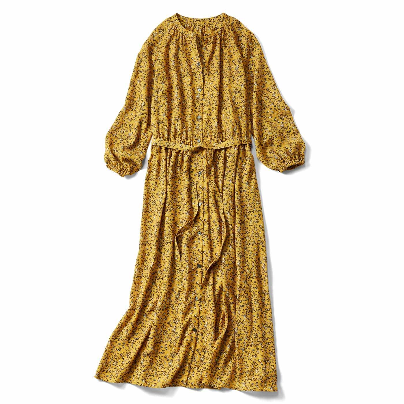 【3~10日でお届け】IEDIT[イディット] 大人フラワープリントのロングシャツドレス〈マスタードイエロー〉